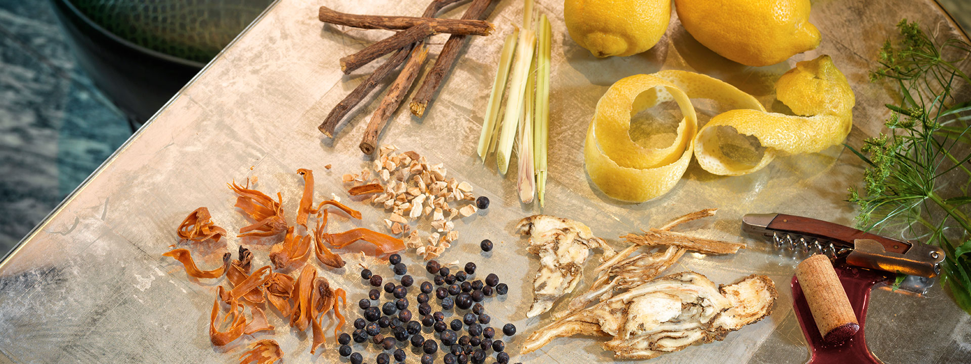 Botanicals ingredients at the connaught bar gin