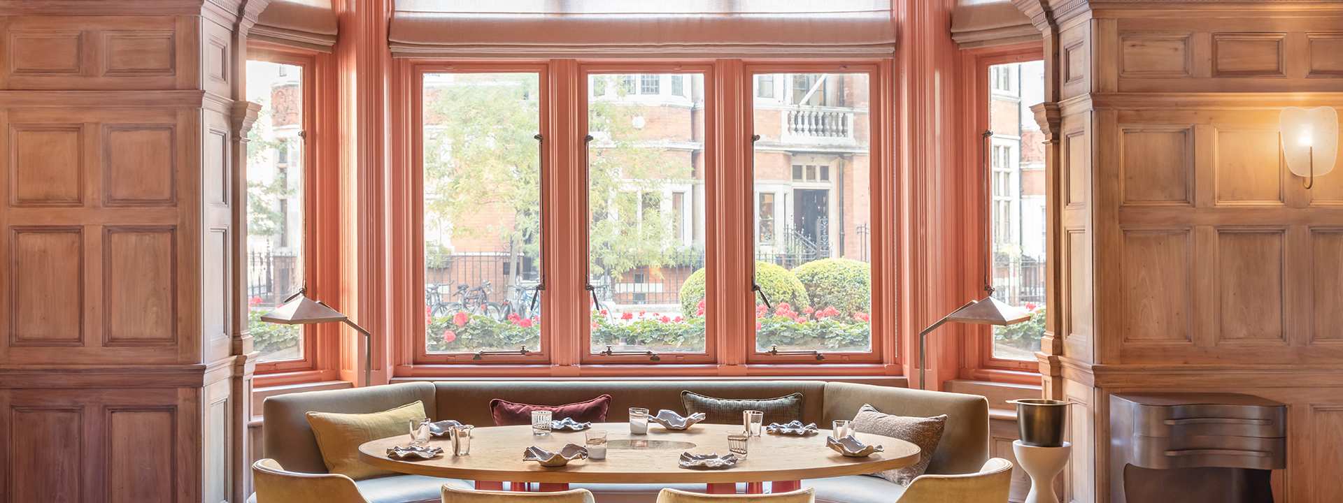 Large bay windows interior of Hélène Darroze at The Connaught in Mayfair
