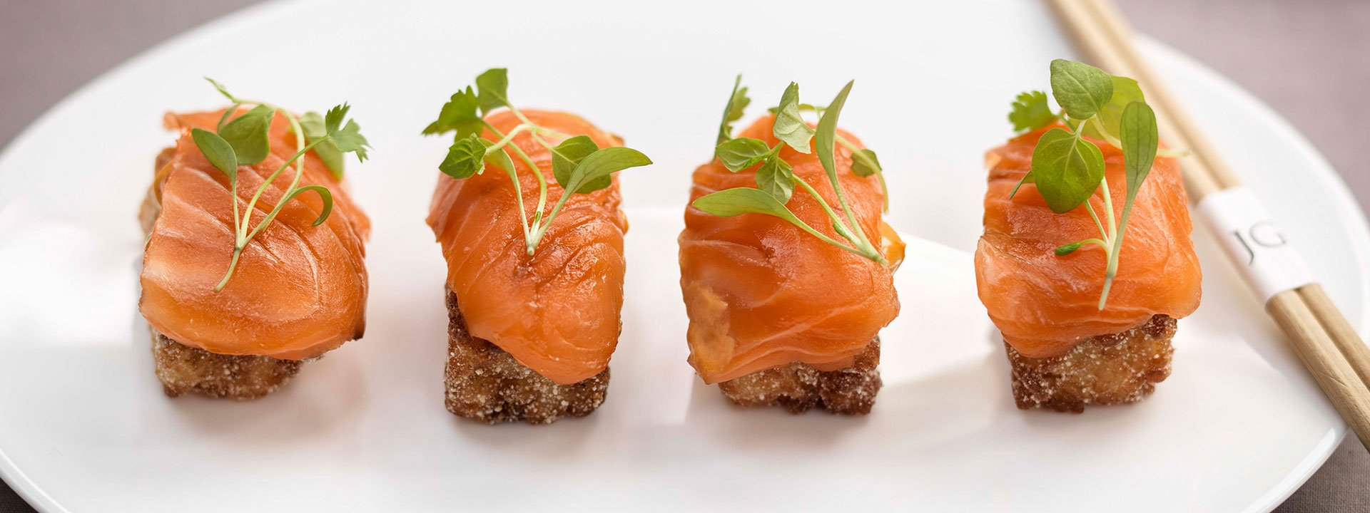 Salmon sushi at Jean-Georges restaurant at The Connaught in Mayfair