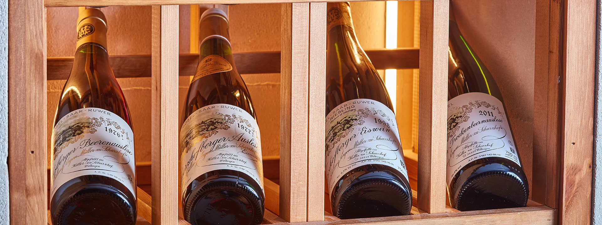 Fine wine in bottles at the Sommelier's Tavle in Hélène Darroze at The Connaught