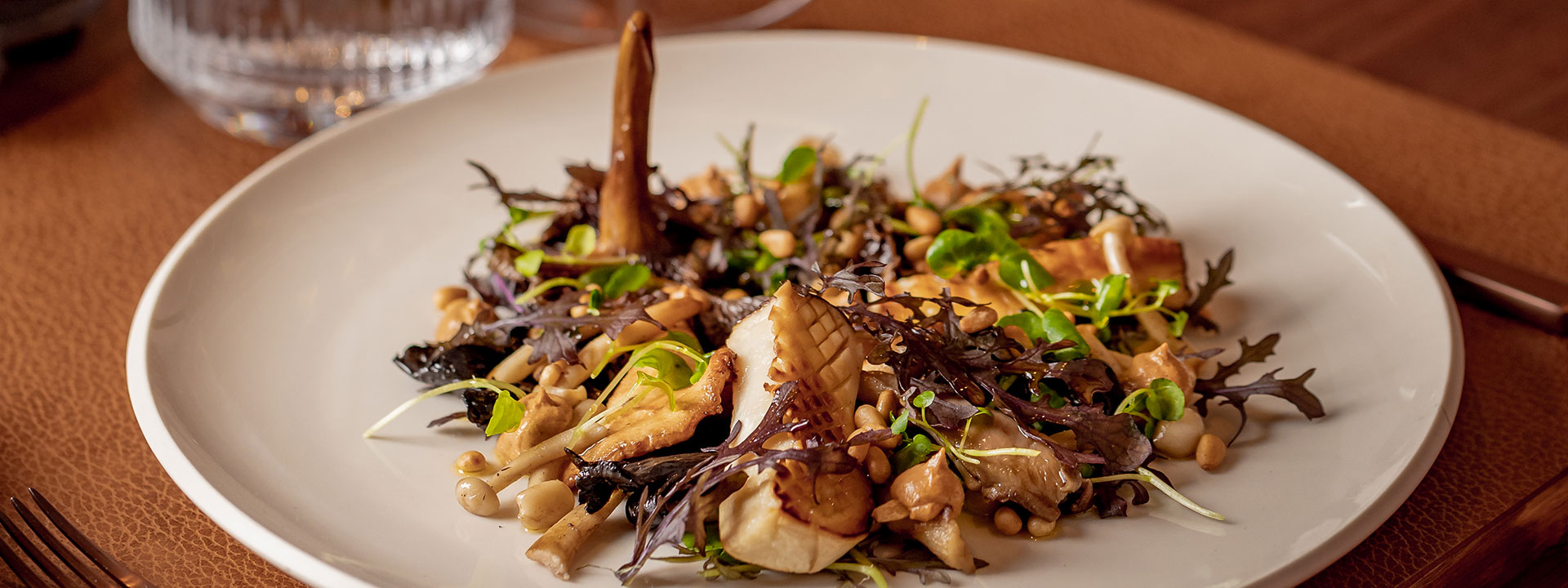 Wild mushroom salad at The Connaught Grill restaurant at The Connaught in Mayfair
