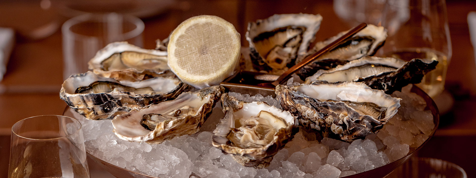 Oysters on ice at The Connaught Grill restaurant at The Connaught in Mayfair