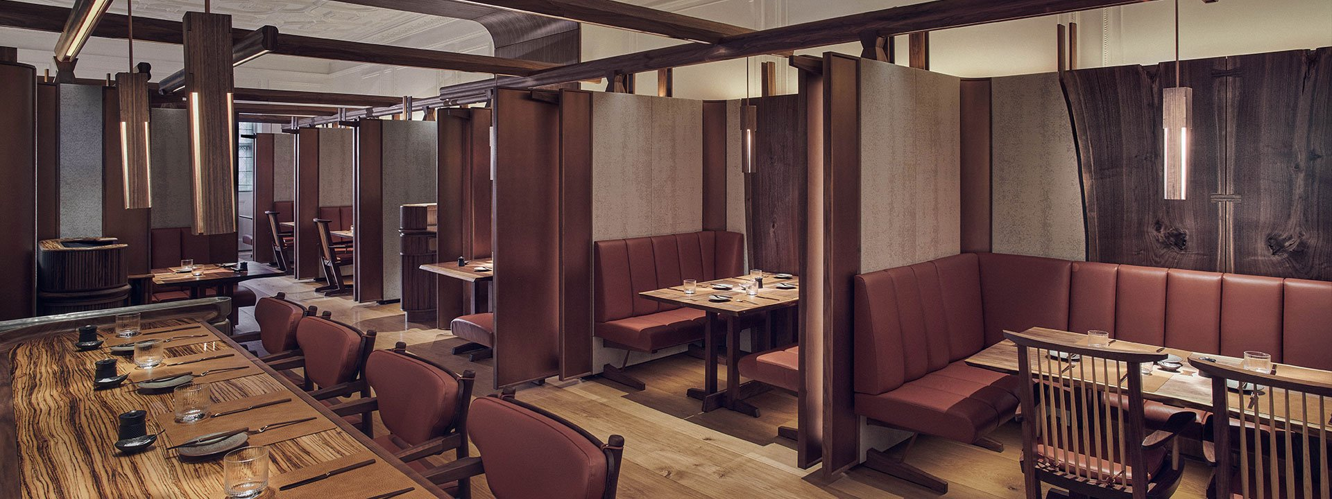 Dark wooden interiors in The Connaught Grill restaurant in Mayfair