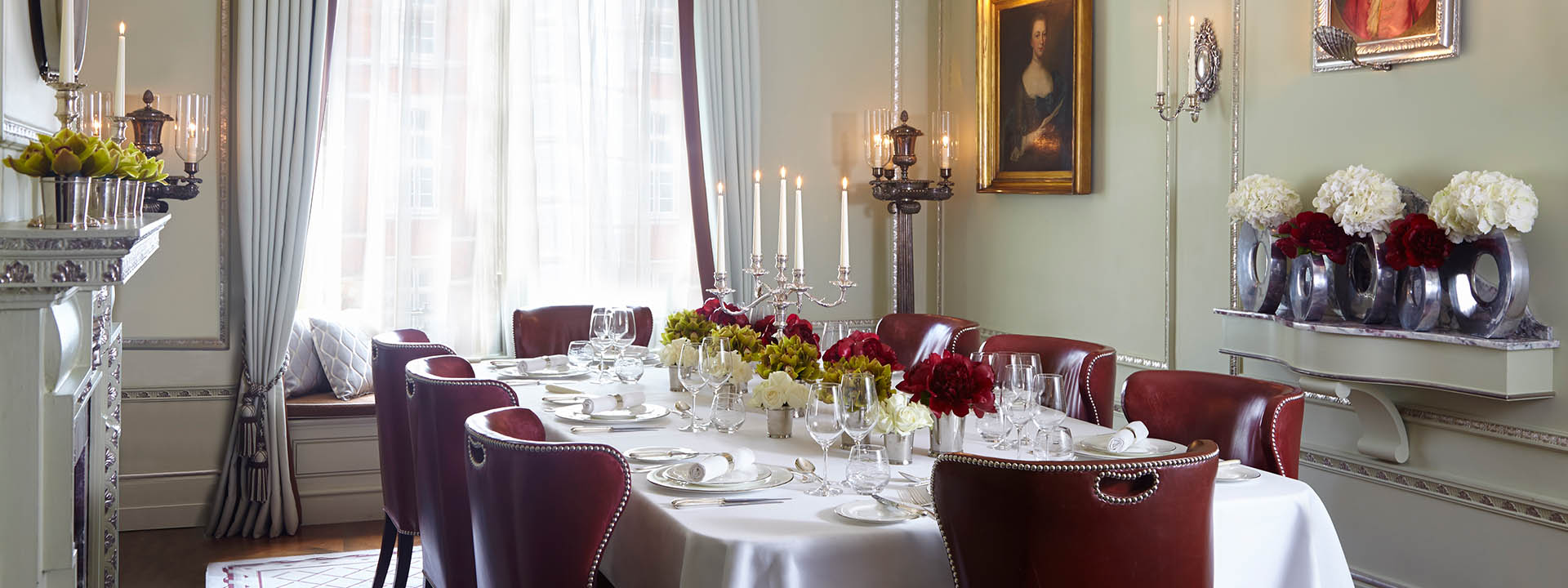 Georgian room at The Connaught set up for a dinner party