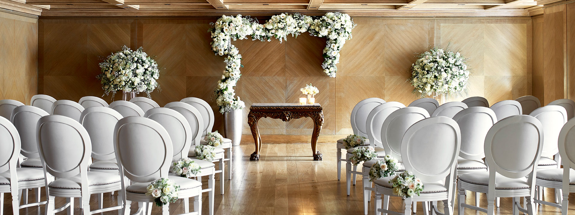 Maple room wedding ceremony set up