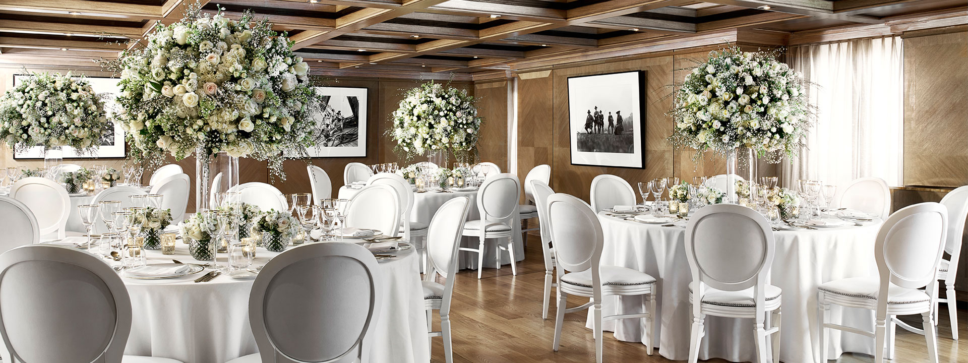Wedding breakfast dining room at The Connaught hotel Mayfair